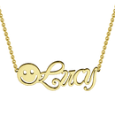 Smiley Name Necklace 14K Gold Plated -  Love Name Necklace