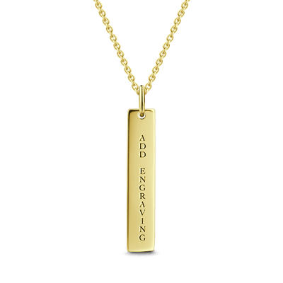 Engravable Bar Necklace 14K Gold Plated -  Love Name Necklace