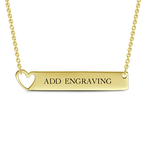Engravable Heart Bar Necklace 14K Gold Plated -  Love Name Necklace