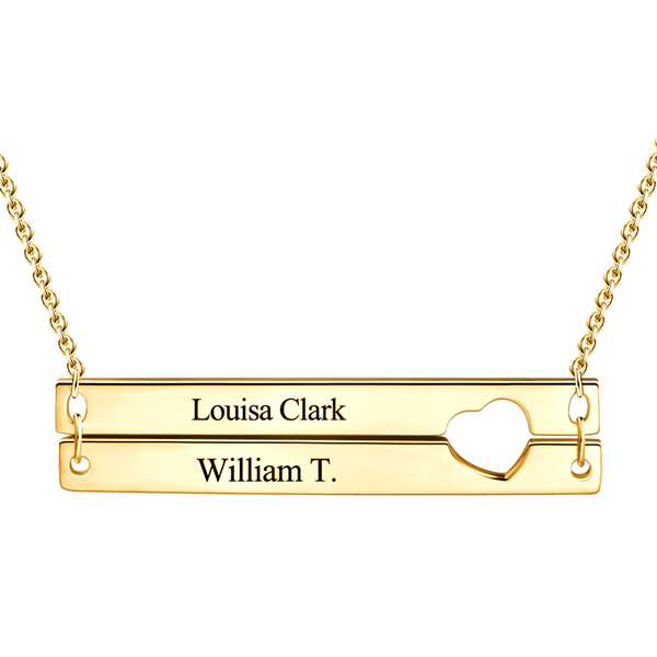 Engravable Heart Two Bar Necklace 14K Gold Plated -  Love Name Necklace