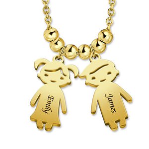 Mother's Necklace with 2-5 Children Charms Stainless Steel in 14K Gold Plated