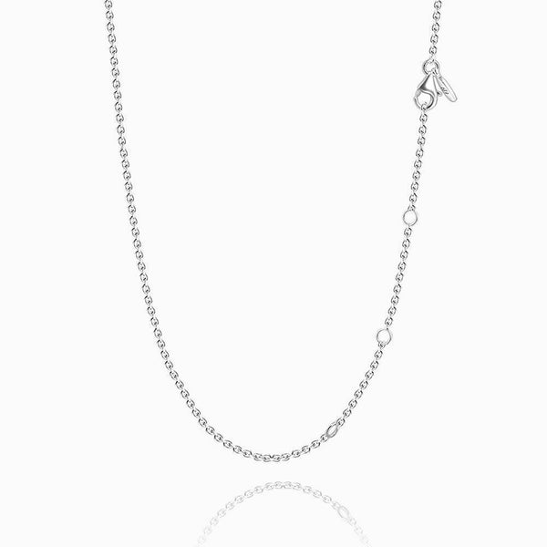 17.7in Rolo Chain Basic Necklace Silver - Length Adjustable -  Love Name Necklace