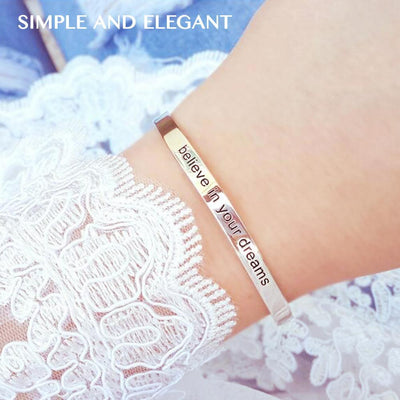 Engravable Cuff Bangle Rose Gold -  Love Name Necklace