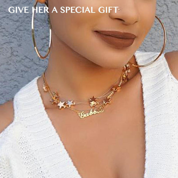 Layered Stars Name Necklace Set Of 2 14K Gold Plated For Her