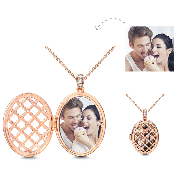 Oval Personalized Photo Locket with Chain Rose Gold