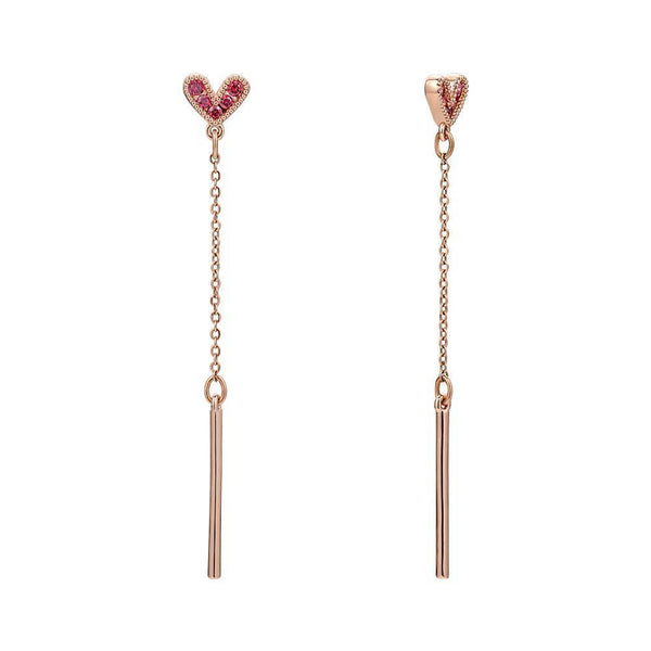 Rose Heart Drop Earrings in Rose Gold Plated