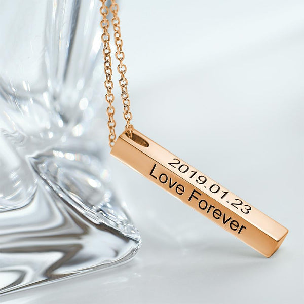 3d Engraving Vertical Bar Necklace Rose Gold Plated -  Love Name Necklace