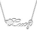 Love Heart Name Necklace Silver -  Love Name Necklace