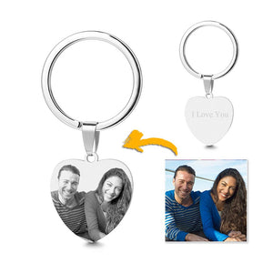 Photo Engraved Heart Tag Key Chain With Engraving Stainless Steel