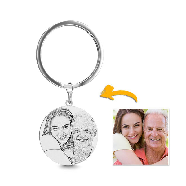 Round Photo Engraved Tag Key Chain Stainless Steel