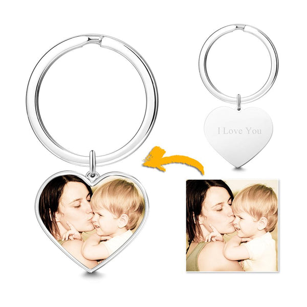 Engraved Heart Tag Photo Key Chain Silver