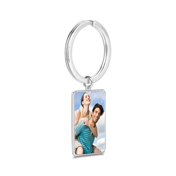 Engraved Rectangle Tag Photo Key Chain Silver
