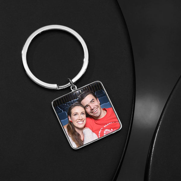 Engraved Square Tag Photo Key Chain Silver