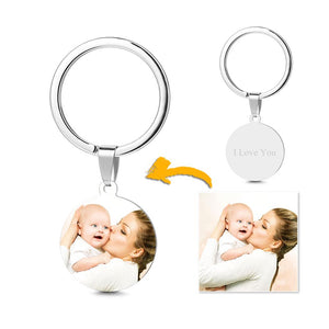 Round Tag Photo Key Chain With Engraving Stainless Steel