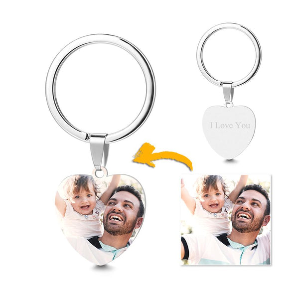 Heart Tag Photo Key Chain With Engraving Stainless Steel