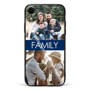 iPhoneXr Custom Glass Surface Photo Phone Case - 2 Pictures with Name