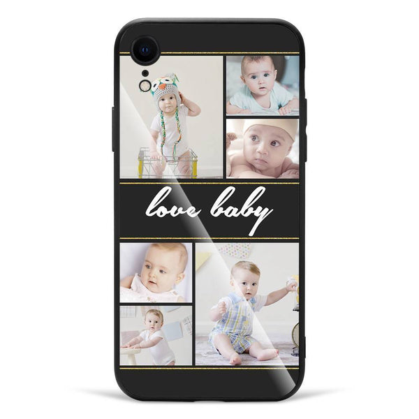 iPhoneXr Custom Glass Surface Photo Phone Case - 6 Pictures with Name