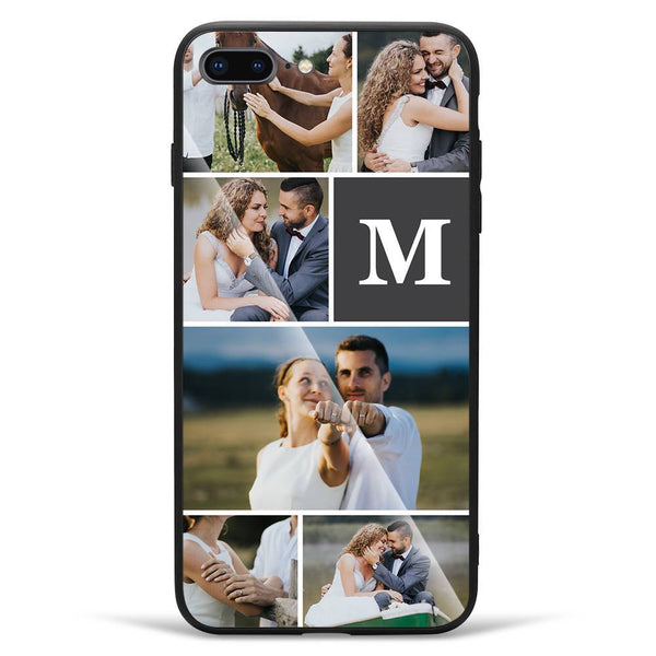 iPhone7p/8p Custom Glass Surface Photo Phone Case - 6 Pictures with Single Letter