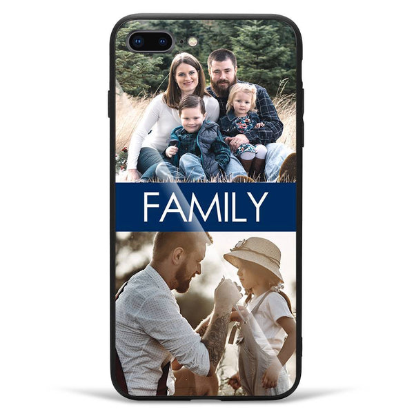 iPhone7p/8p Custom Glass Surface Photo Phone Case - 2 Pictures with Name