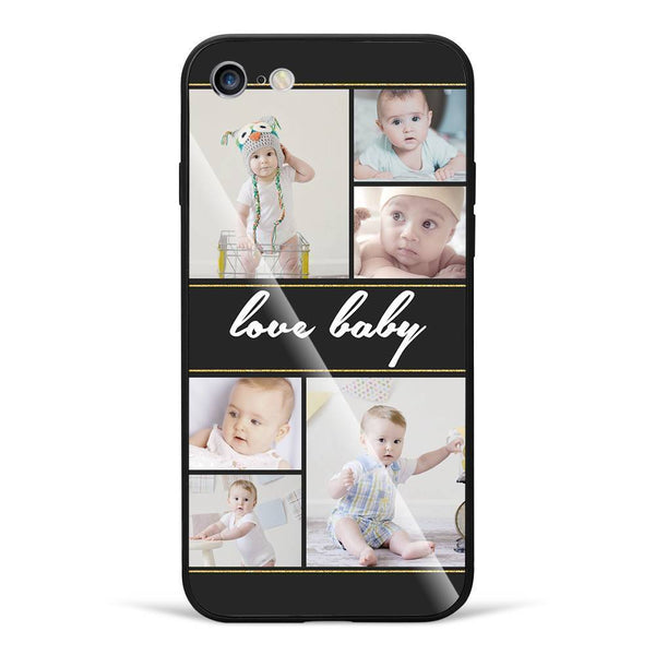iPhone6/6s Custom Glass Surface Photo Phone Case - 6 Pictures with Name