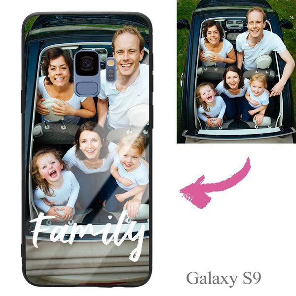 Galaxy S9 Custom We Are Family Glass Surface Photo Phone Case