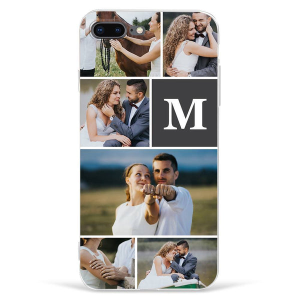 iPhone7p/8p Custom Photo Phone Case - 6 Pictures with Single Letter