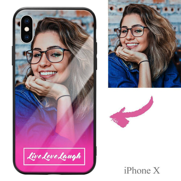"iphoneX Custom ""Live Love Laugh"" Glass Surface Photo Phone Case"