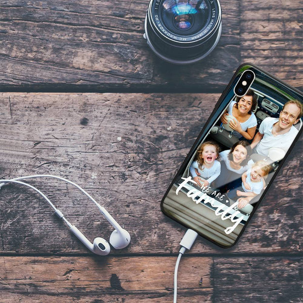 "iphoneXs Custom ""We Are Family"" Glass Surface Photo Phone Case"