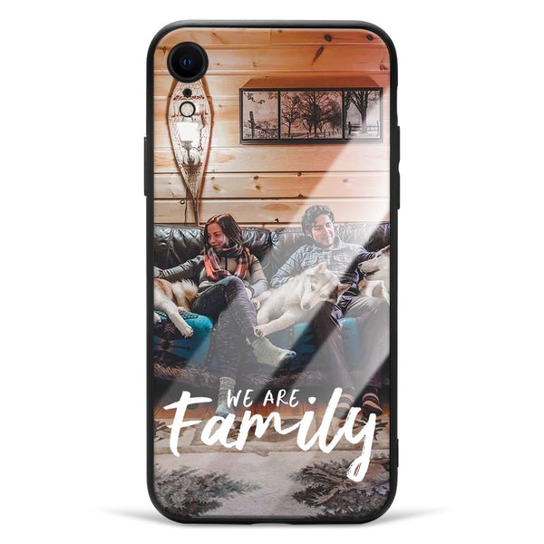 "iphoneXr Custom ""We Are Family"" Glass Surface Photo Phone Case"