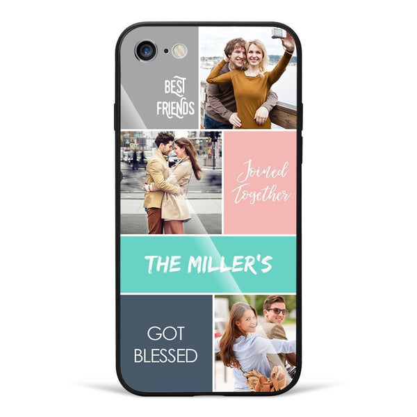 iPhone6/6s Custom Photo Protective Phone Case - Glass Surface - 3 Pictures with Name