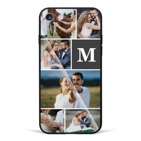 iPhone7/8 Custom Photo Protective Phone Case - Glass Surface - 6 Pictures with Single Letter
