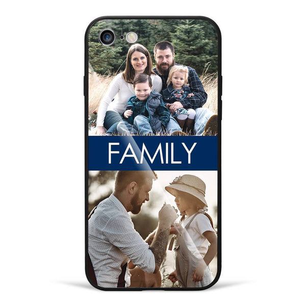 iPhone7/8 Custom Photo Protective Phone Case - Glass Surface - 2 Pictures with Name