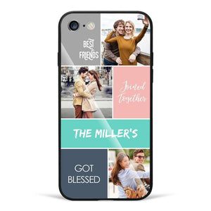 iPhone7/8 Custom Photo Protective Phone Case - Glass Surface - 3 Pictures with Name
