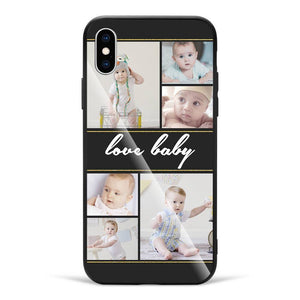 iPhone Custom Photo Protective Phone Case - Glass Surface - 6 Pictures with Name