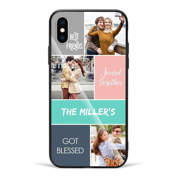 iPhoneX Custom Photo Protective Phone Case - Glass Surface - 3 Pictures with Name