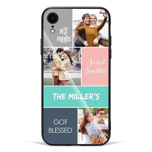 iPhoneXr Custom Photo Protective Phone Case - Glass Surface - 3 Pictures with Name