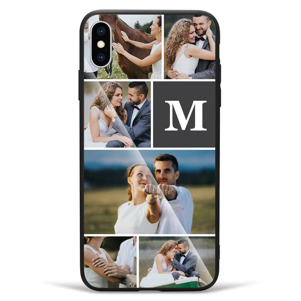 iPhoneXs Max Custom Photo Protective Phone Case - Glass Surface - 6 Pictures with Single Letter