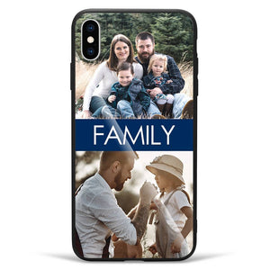 iPhoneXs Max Custom Photo Protective Phone Case - Glass Surface - 2 Pictures with Name