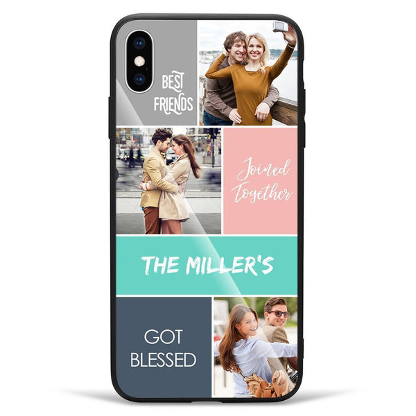 iPhoneXs Max Custom Photo Protective Phone Case - Glass Surface - 3 Pictures with Name