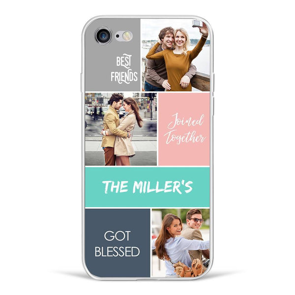 iPhone6/6s Custom Photo Protective Phone Case - 3 Pictures with Name Soft Shell Matte