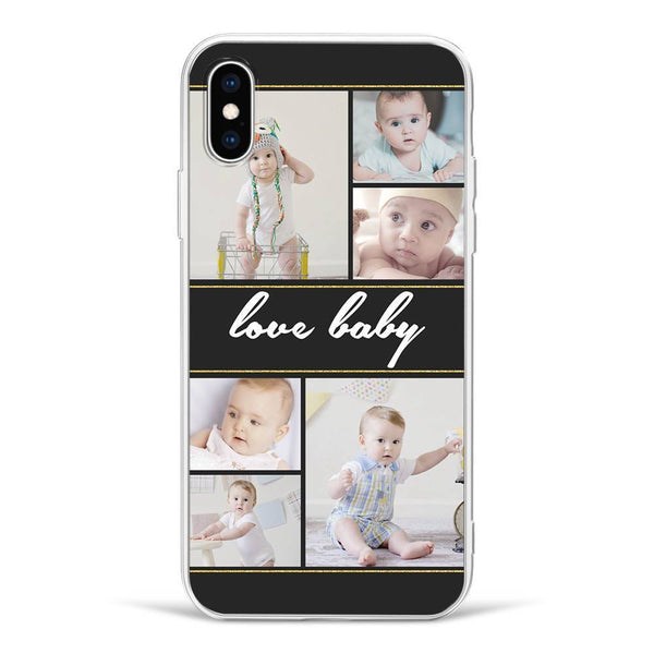 iPhone Custom Photo Protective Phone Case - 6 Pictures with Name Soft Shell Matte