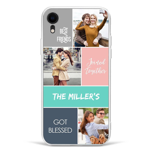 iPhoneXr Custom Photo Protective Phone Case - 3 Pictures with Name Soft Shell Matte