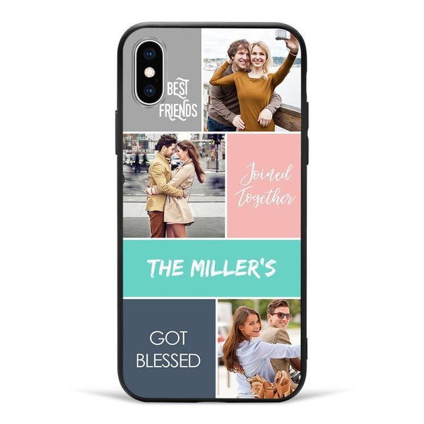 iPhoneX Custom Photo Protective Phone Case - 3 Pictures with Name Soft Shell Matte