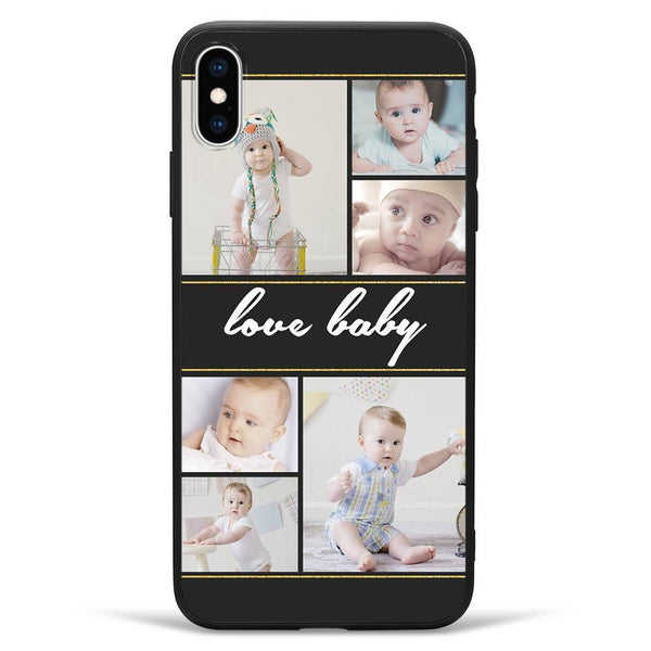 iPhoneXs Max Custom Photo Protective Phone Case - 6 Pictures with Name Soft Shell Matte