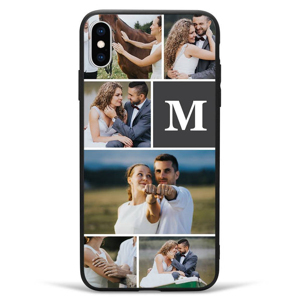 iPhoneXs Max Custom Photo Protective Phone Case - 6 Pictures with Single Letter Soft Shell Matte