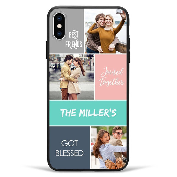 iPhoneXs Max Custom Photo Protective Phone Case - 3 Pictures with Name Soft Shell Matte