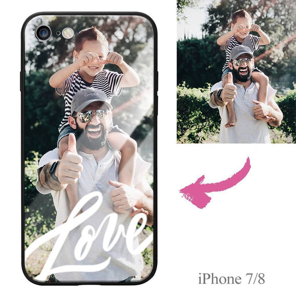 iPhone7/8 Custom Love Photo Protective Phone Case - Glass Surface