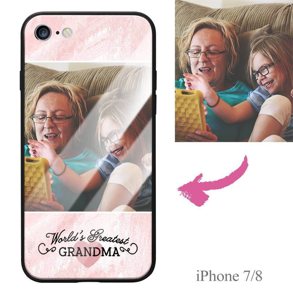 "iPhone7/8 Custom ""Grandma"" Photo Protective Phone Case - Glass Surface"