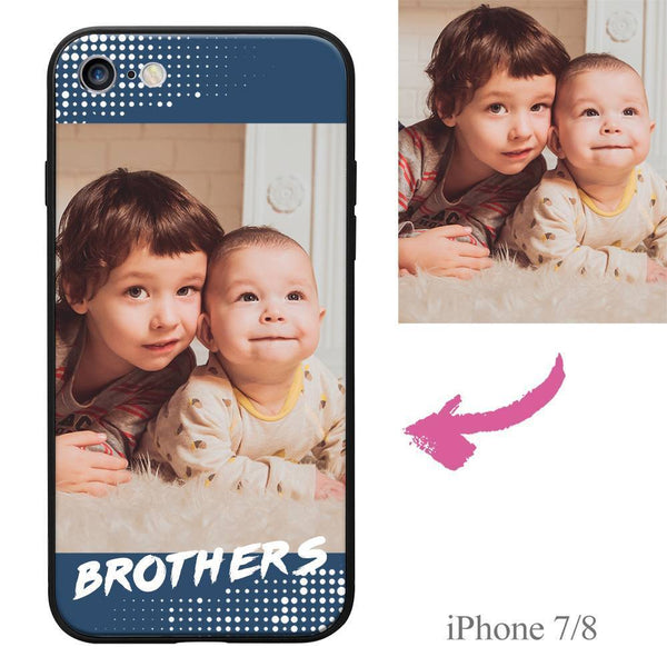 "iPhone7/8 Custom ""Brothers"" Family Photo Protective Phone Case Soft Shell Matte"
