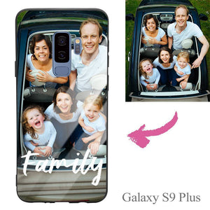 "Galaxy S9 Plus Custom ""We Are Family"" Photo Protective Phone Case - Glass Surface"